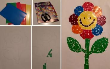 Napravite cvet mozaik tehnikom od kolaž papira