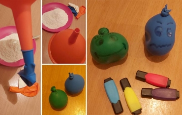 Loptice od balona i brašna za podsticanje mašte i fine motorike